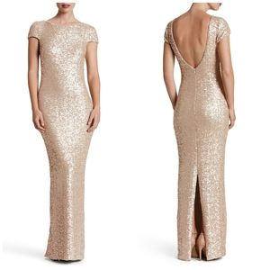 Dress the Population Brushed Gold Sequin Maxi